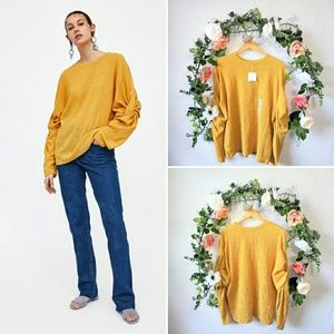 Zara Collection Crinkle Ruched Long Sleeves Blouse